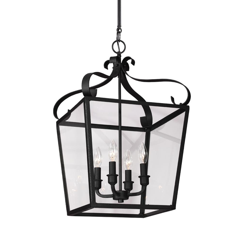 Lockheart 4-Light Textured Blacksmith Hall-Foyer Pendant with Dimmable Candelabra LED Bulb
