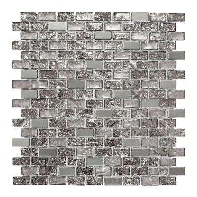 Palazzo 11-7/8 in. x 12 in. x 8 mm Glass and Metal Mosaic Wall Tile