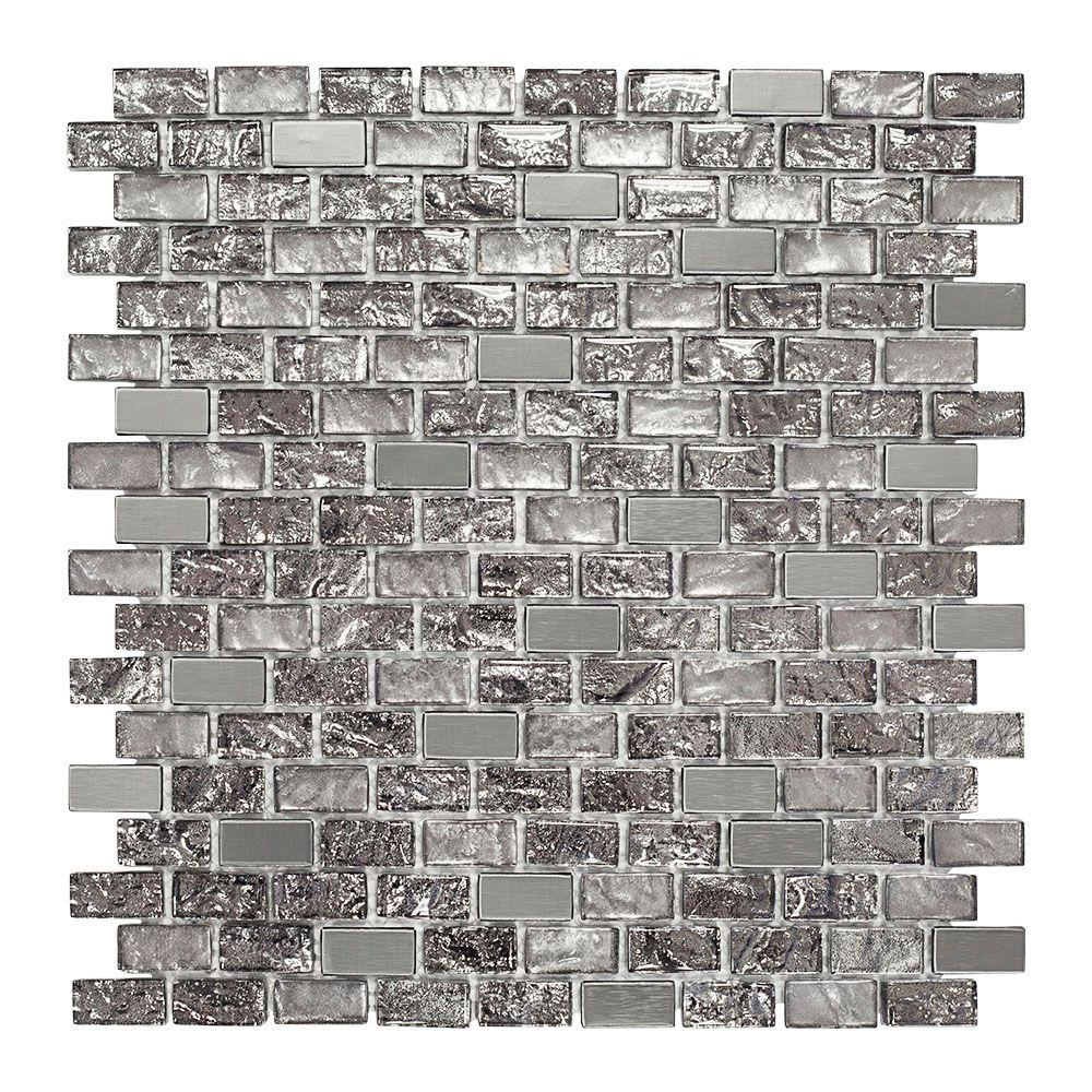 Jeffrey Court Palazzo 11-7/8 in. x 12 in. x 8 mm Glass and Metal Mosaic Wall Tile