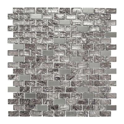 Palazzo Grey 11-7/8 in. x 12 in. x 8 mm Interlocking Textured Glass and Metal Mosaic Tile
