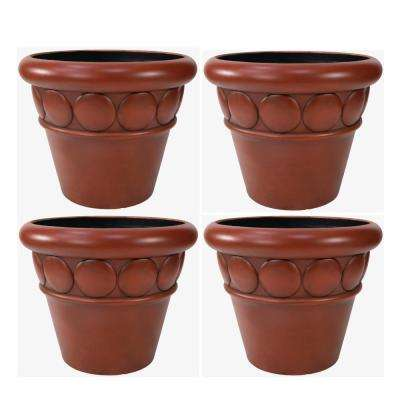 32 in. Dia Brown Composite Commercial Planter (4-Pack)