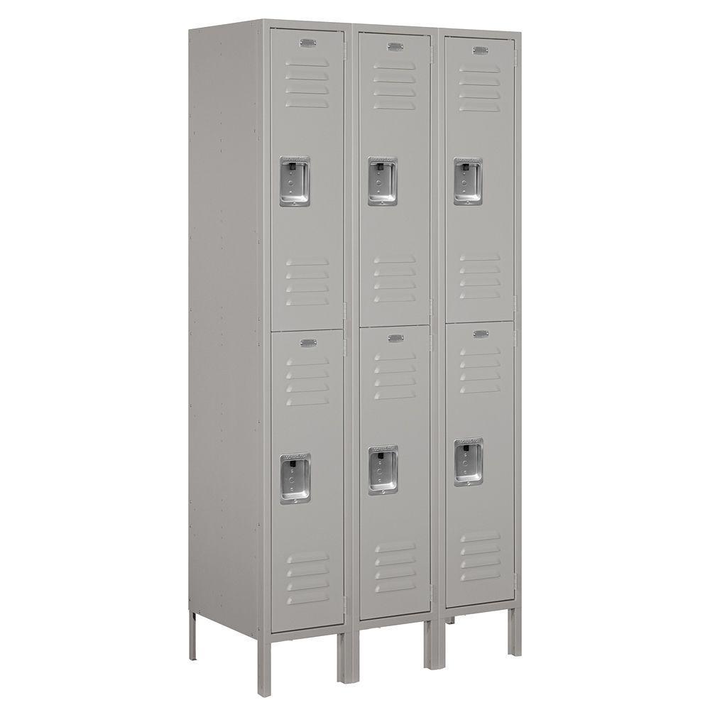 62000 Series 36 in. W x 78 in. H x 18 in. D 2-Tier Metal Locker Assembled in Gray