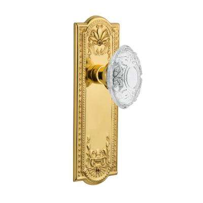 Meadows Plate 2-3/8 in. Backset Polished Brass Privacy Bed/Bath Crystal Victorian Door Knob