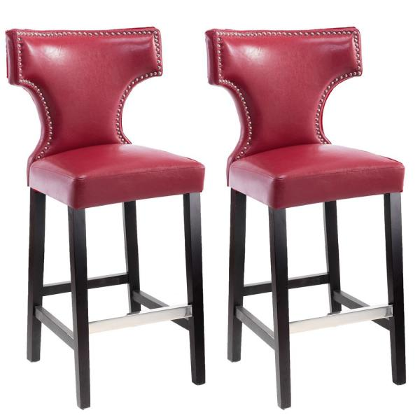 Kings 29 in. Red Bonded Leather Bar Stool (Set of 2)