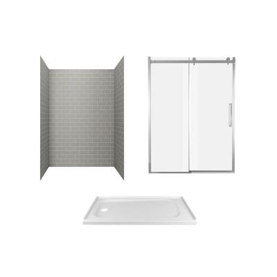 Passage 60 in. x 72 in. 3-Piece Glue-Up Alcove Shower Wall, Door and Base Kit with Left Hand Drain in Gray Subway Tile