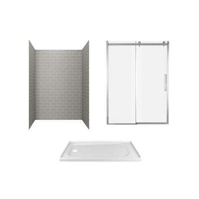 Passage 60 in. x 72 in. 6-Piece Glue-Up Alcove Shower Wall, Door and Base Kit with Left Hand Drain in Gray Subway Tile