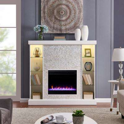 Ervon Color Changing 55 in. Electric Fireplace with Tile Surround in White