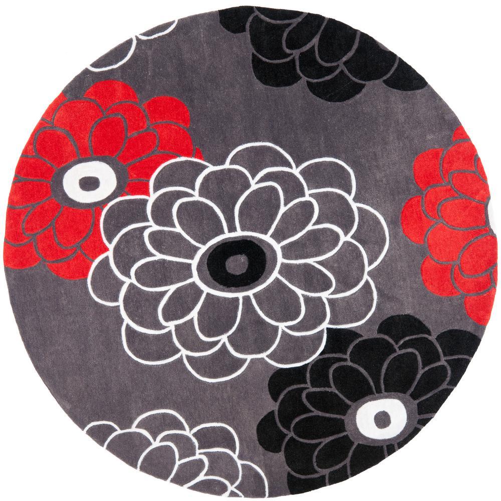 Safavieh modern art dark gray multi 7 ft x 7 ft round for Round area rugs contemporary