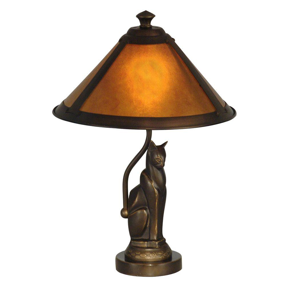 17 in. Ginger Mica Antique Bronze Accent Lamp
