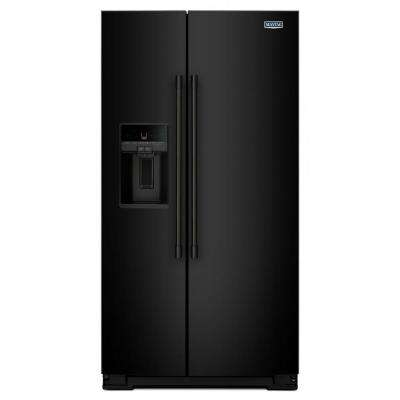 36 in. W 26 cu. ft. Side by Side Refrigerator in Black