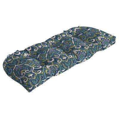 41.5 in. x 18 in. Sapphire Aurora Damask Countoured Tufted Outdoor Bench Cushion