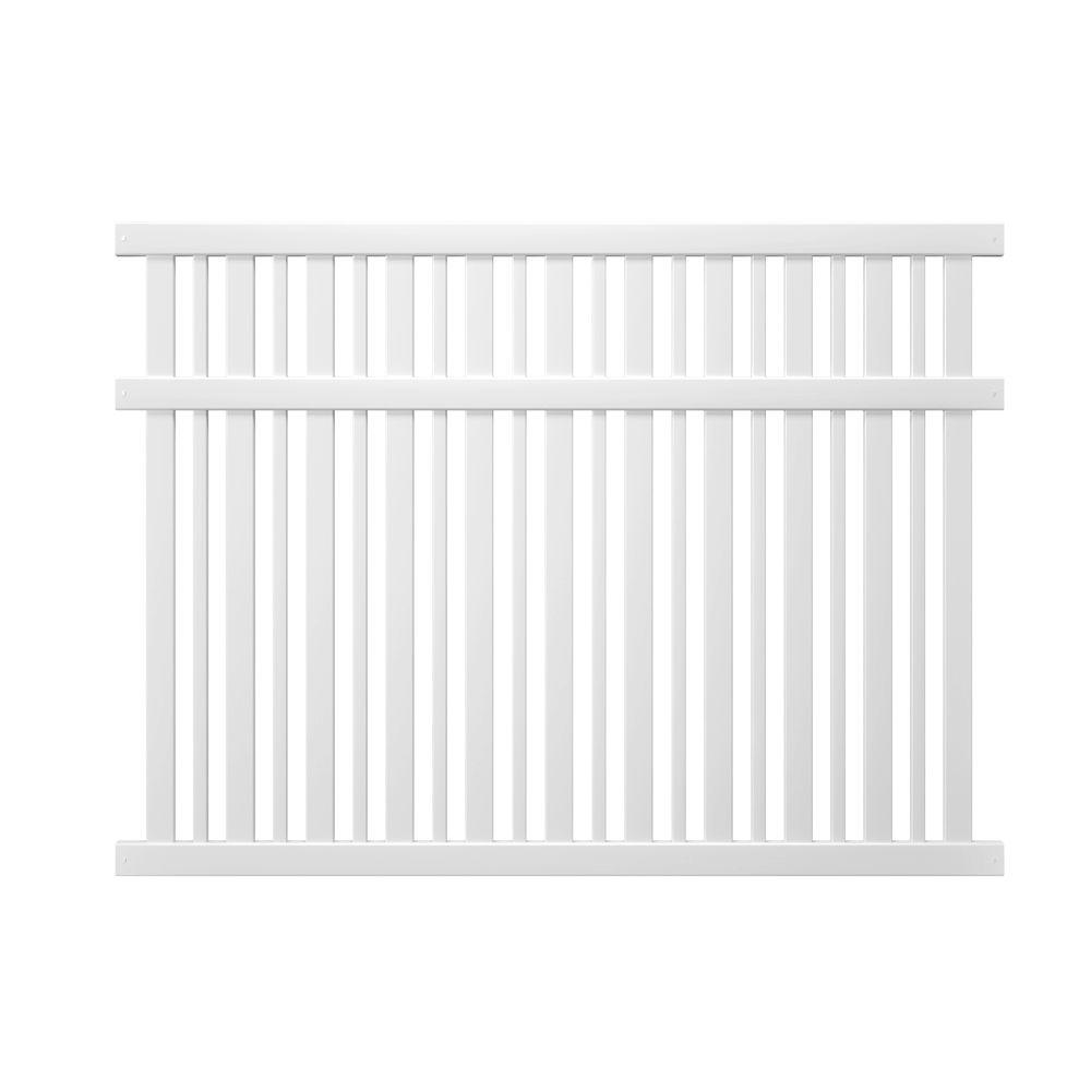 Pro-Series 6 ft. H x 8 ft. W White Vinyl Lafayette Spaced...