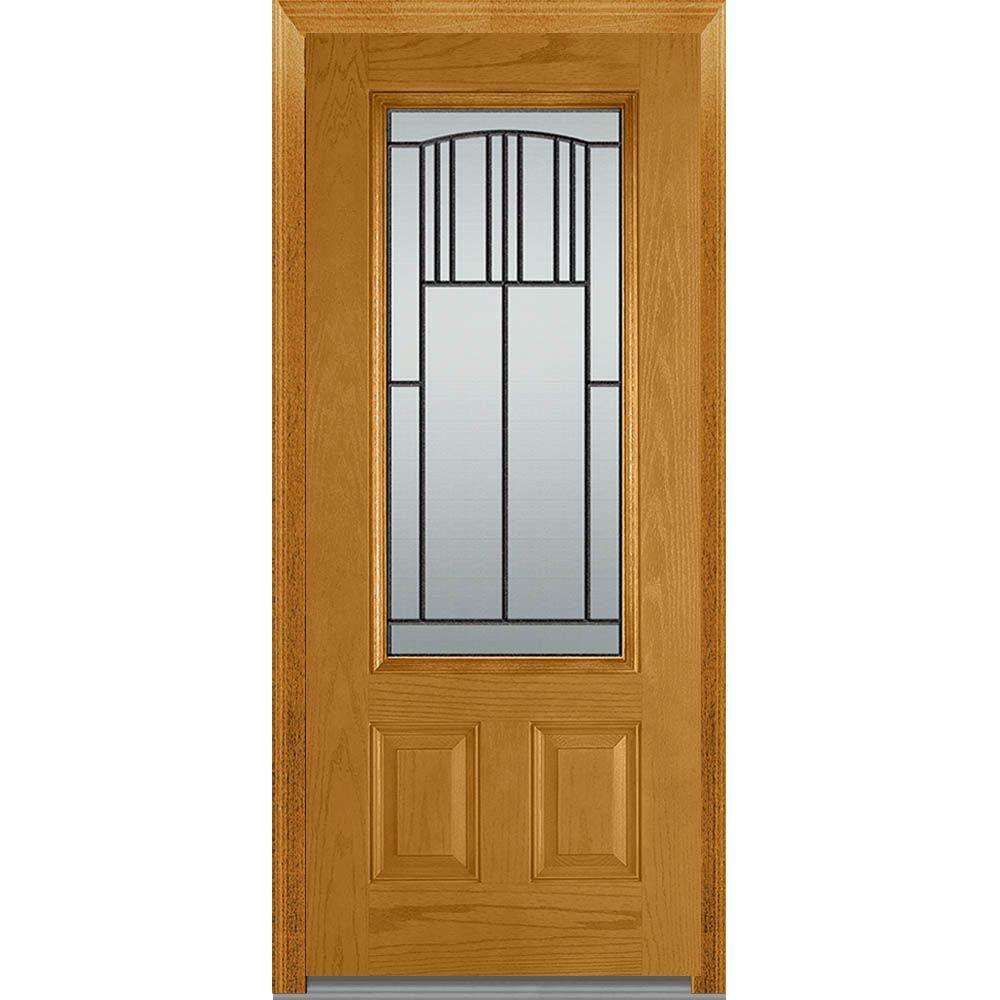Mmi door 36 in x 80 in madison left hand inswing 3 4 lite decorative 2 panel classic stained for 36 x 80 fiberglass exterior door