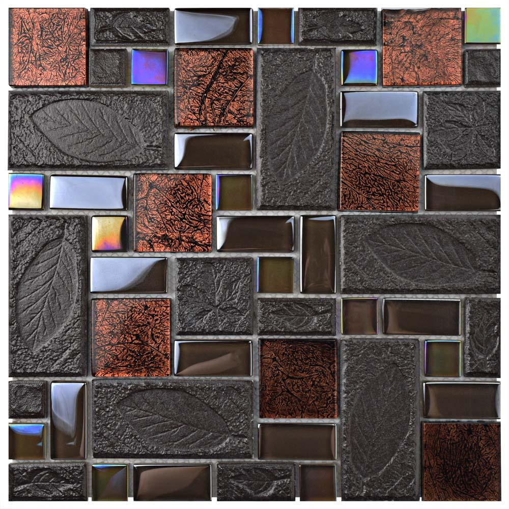 Merola Tile Garden Versailles Walnut 11-3/4 in. x 11-3/4 in. x 8 mm Ceramic and Glass Mosaic Tile