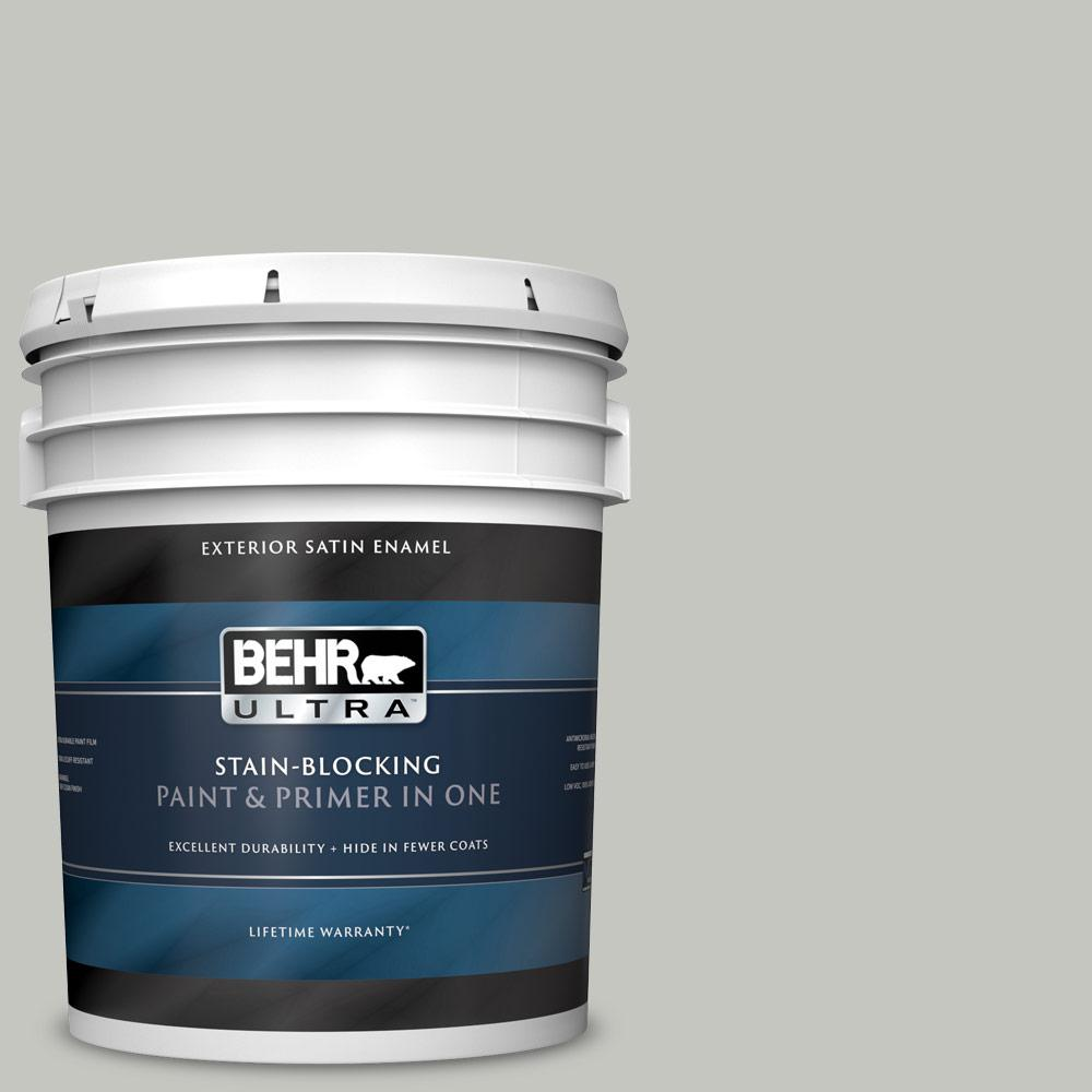 Behr Ultra 5 Gal Ppu24 16 Titanium Satin Enamel Exterior Paint And Primer In One 985005 The Home Depot