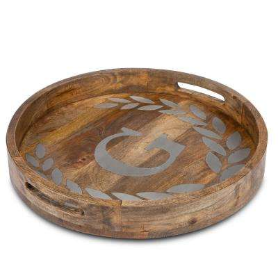 "20 in. D Mango Wood Round Tray ""G"""