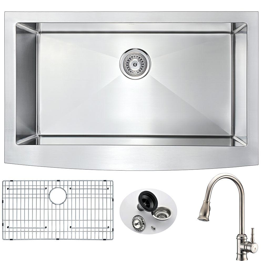 ANZZI Elysian Farmhouse Stainless Steel 32 In. Single Bowl Kitchen Sink  With Faucet In Brushed