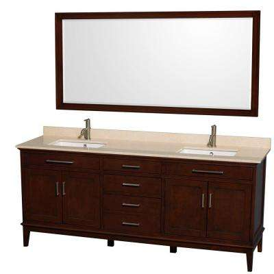Hatton 80 in. Vanity in Dark Chestnut with Marble Vanity Top in Ivory, Square Sink and 70 in. Mirror