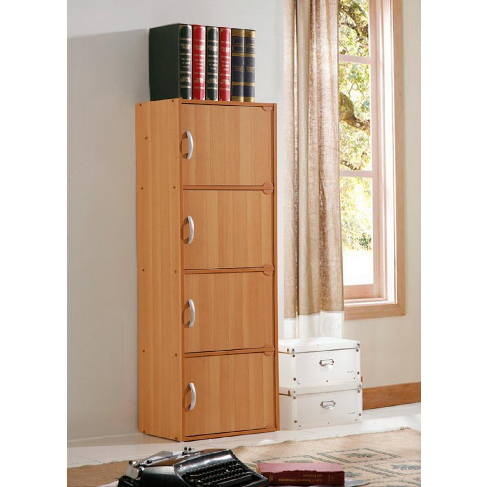 H Beech Bookcase with Doors  sc 1 st  The Home Depot & Hodedah 4-Shelf 47 in. H Beech Bookcase with Doors-HID4 BEECH - The ...