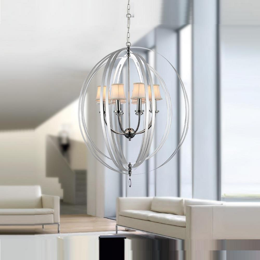 CWI Lighting Bird Cage 6 Light Chrome Chandelier With Beige Shade