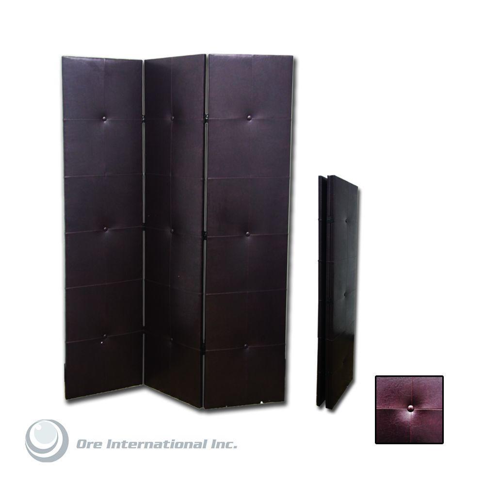 Home Decorators Collection 5.85 ft. PU Dark Brown 3-Panel Room Divider