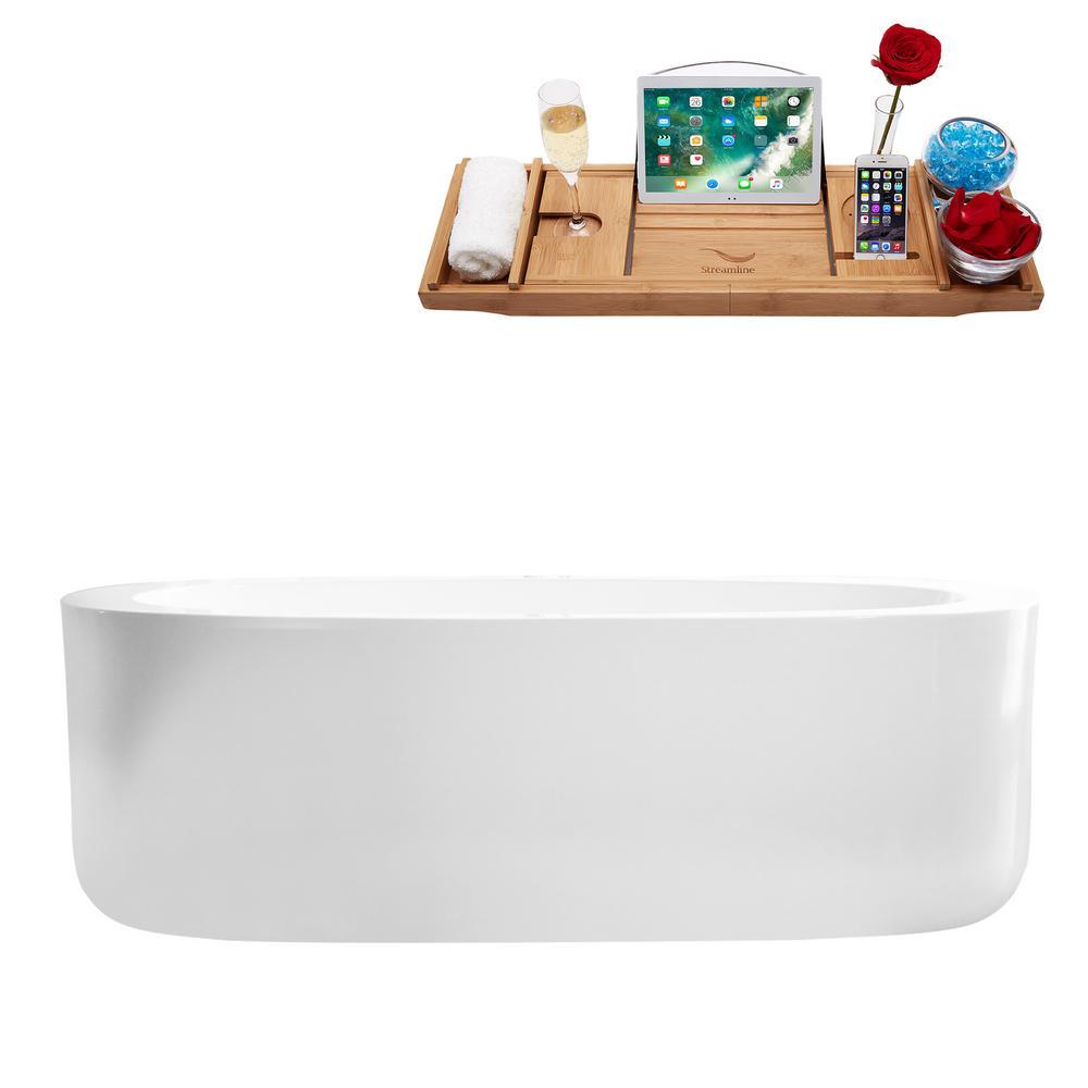 66.5 in. Acrylic Flatbottom Non-Whirlpool Bathtub in Glossy White