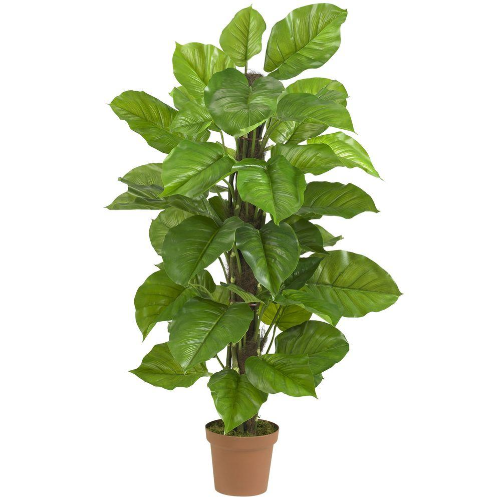 nearly natural real touch 52 in. h green large leaf philodendron