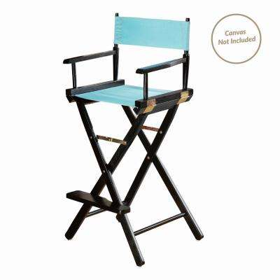 30 in. Director's Chair Black Solid Wood Frame