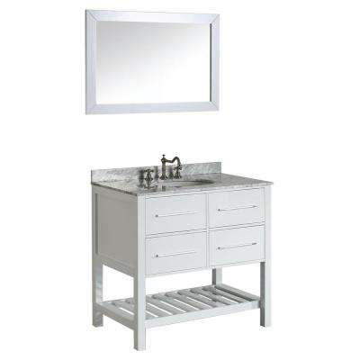 Bosconi 36 in. W Single Bath Vanity in White with White Carrara Marble Vanity Top in White with White Basin and Mirror