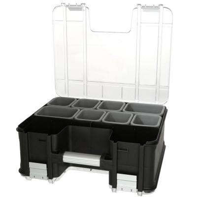 15 in. x 13 in. Black Pro Double Sided Small Parts Organizer with Bins (8-Piece)