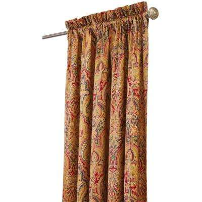 Semi-Opaque Trophy Room 108 in. L Cotton Drapery Panel in Jewel