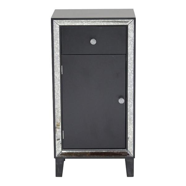 Shelly Black with a Drawer and Door Wood Cabinet