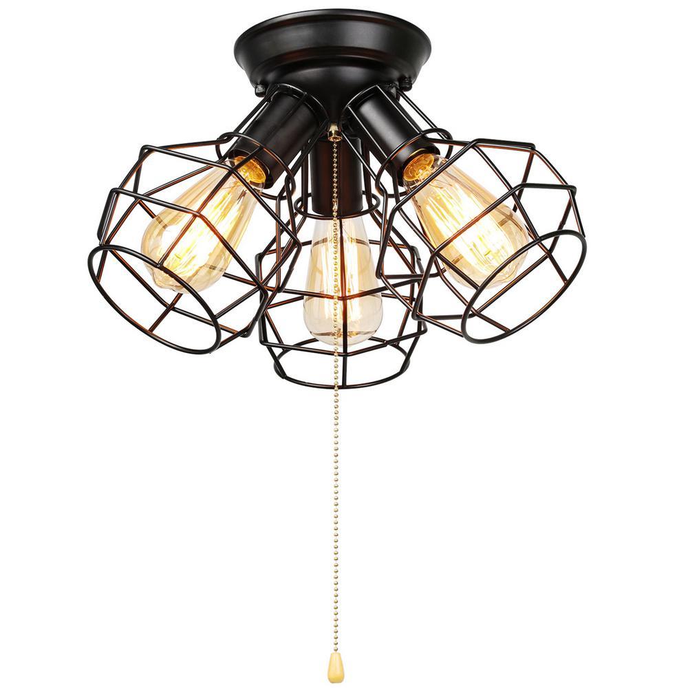 Versatile Vintage Industrial 3-Light Black Cage Semi-Flush Mount Light with Pull String