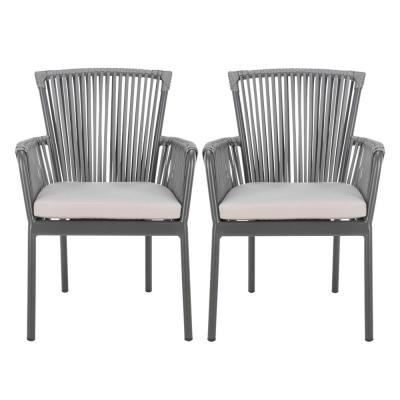 Paolo Gray Stackable Aluminum Outdoor Dining Chair with Gray Cushions (Set 2)
