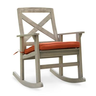 Tulle Wood Outdoor Rocking Chair with Brick Red Cushion