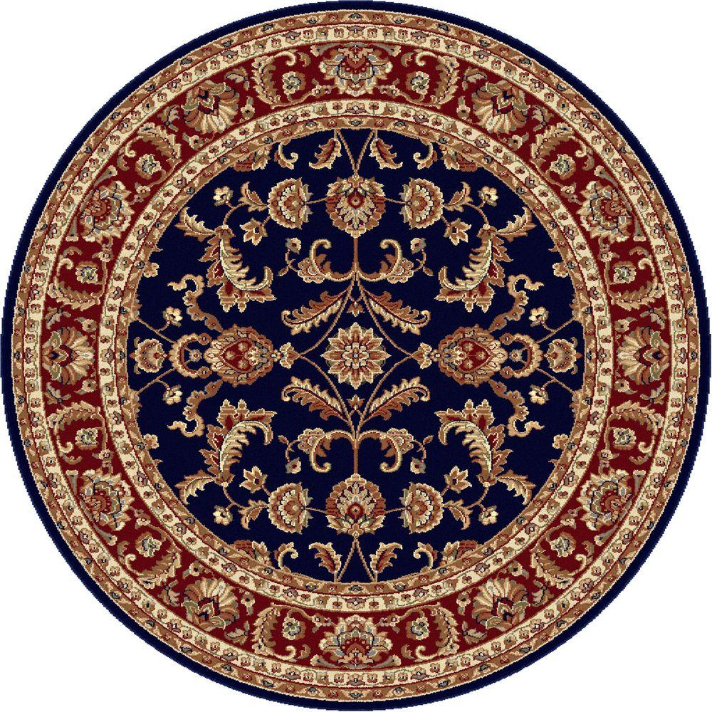 Tayse Rugs Sensation Navy Blue 5 ft. 3 in. Round Transitional Area Rug