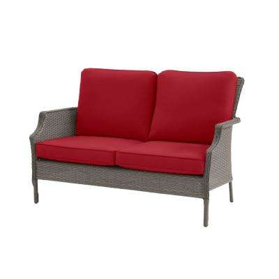 Grayson Ash Gray Wicker Outdoor Patio Loveseat with CushionGuard Chili Red Cushions