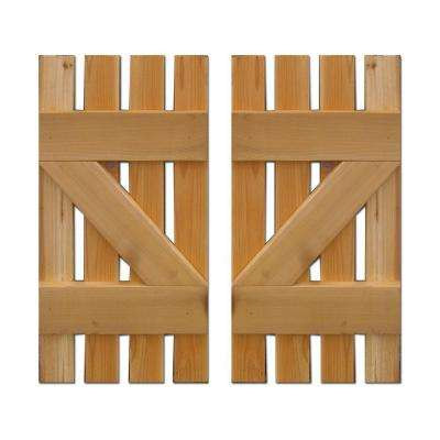 15 in. x 48 in. Baton Spaced Z Board and Batten Shutters (Natural Cedar) Pair