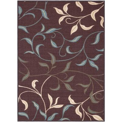 Ottohome Collection Contemporary Leaves Design Chocolate 5 ft. x 7 ft. Area Rug
