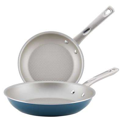 Home Collection 2-Piece Porcelain Enamel Non-Stick Skillet Twin Pack in Twilight Teal