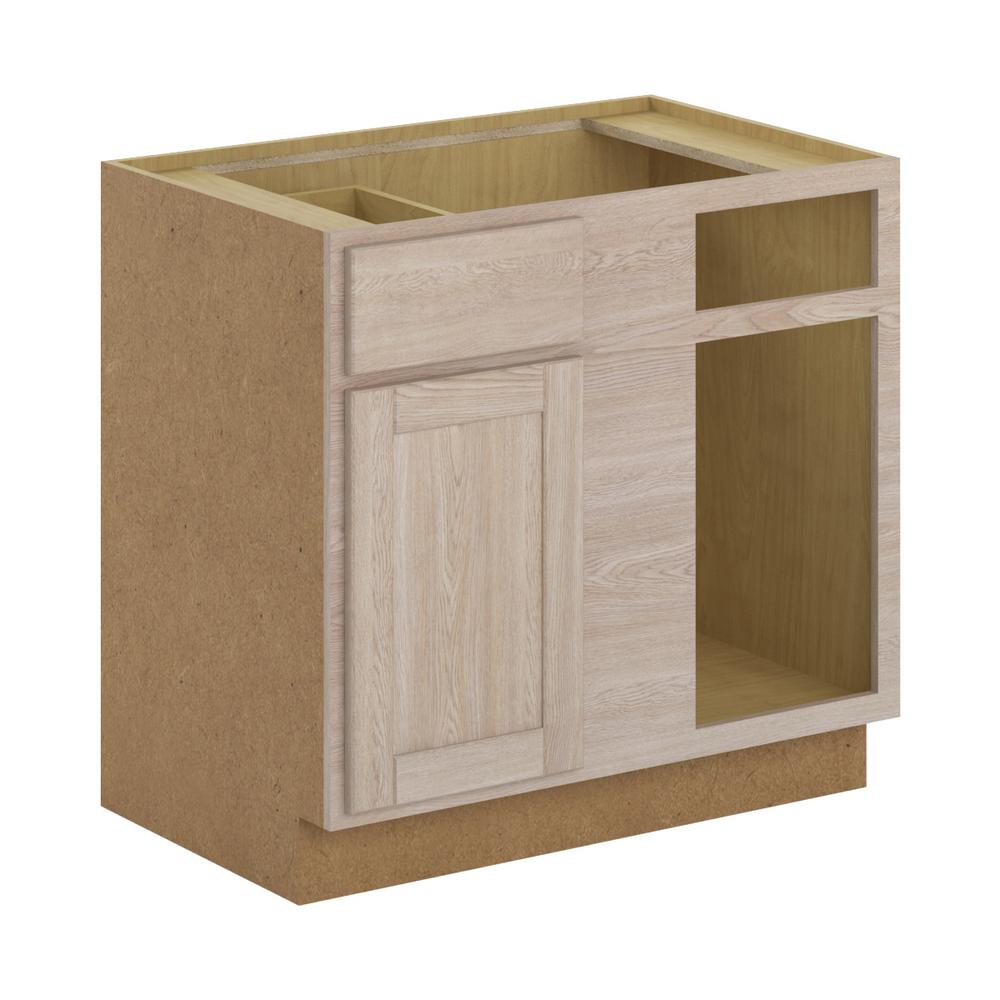Hampton Bay Stratford Assembled 36x34.5x24 In. Blind Corner Base Cabinet In  Unfinished Oak