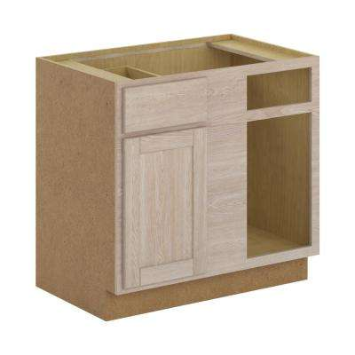 Stratford Assembled 36x34.5x24 in. Blind Corner Base Cabinet in Unfinished Oak