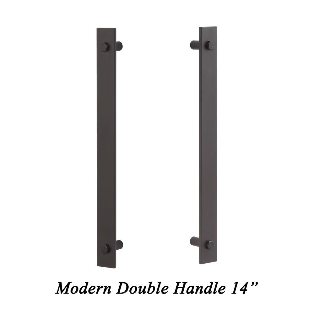 14in Flat Black Sliding Door Modern  Double-Sided Barn Door Handle