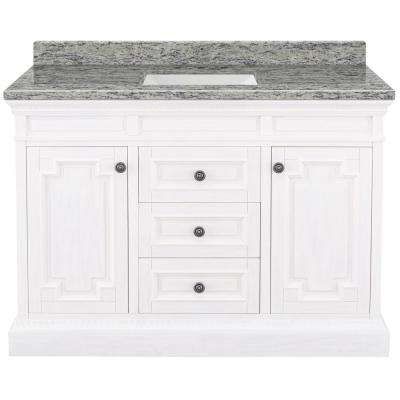 Cailla 49 in. W x 22 in. D Bath Vanity in White Wash with Granite Vanity Top in Santa Cecilia with White Sink