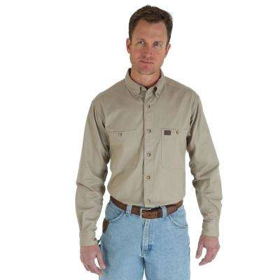 Men's Size Extra-Large Khaki Twill Work Shirt