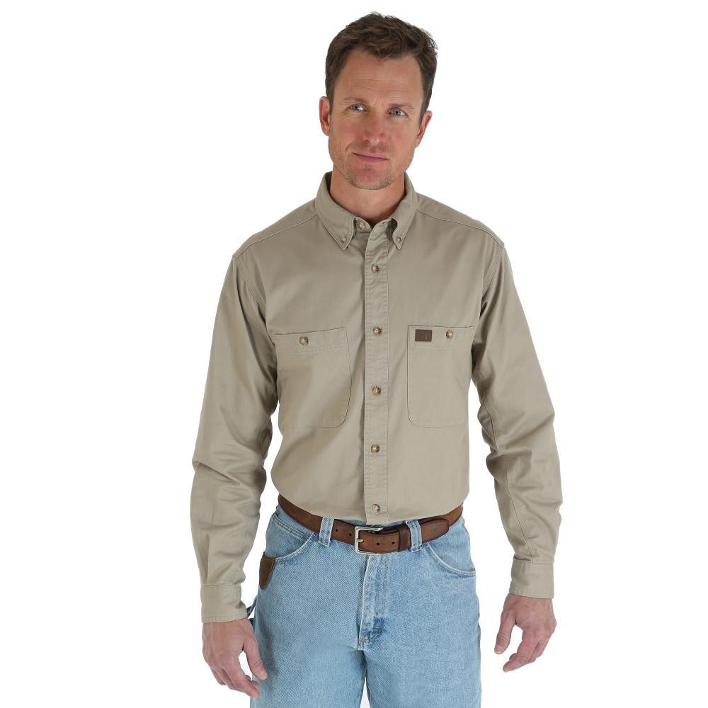 Men's Size Large Khaki Twill Work Shirt