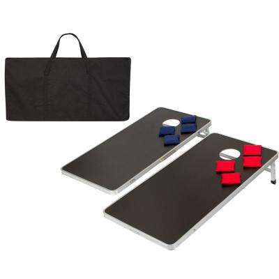 4 ft. Lightweight and Portable Aluminum Corn Hole and Bean Bag Toss Set with Carry Case in Black