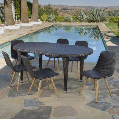 Lydia Multi-Brown 7-Piece Wicker Outdoor Dining Set