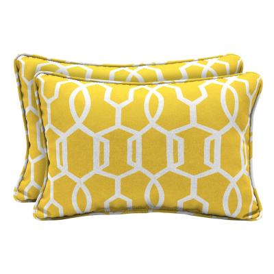 DriWeave Vase Lattice Lumbar Outdoor Throw Pillow (2-Pack)