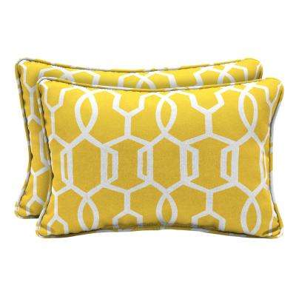 DriWeave Vase Lattice Lumbar Outdoor Throw Pillow (2-Pack)